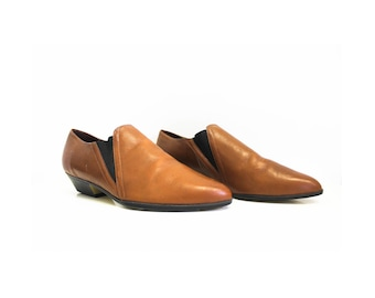 Women's Leather cognac slip on ankle boots/ size 9W
