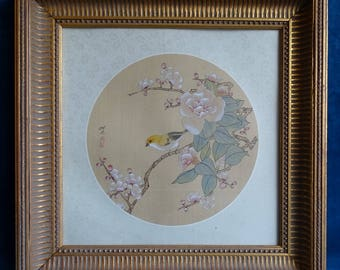 Chinese painting on silk of a Canary