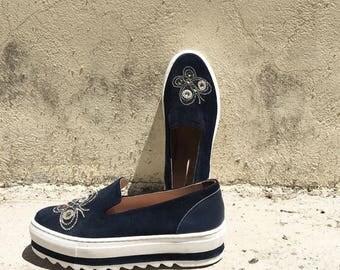 Navy Blue Suede Platform Sneaker Shoe