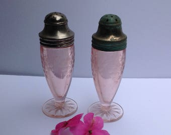 Pink Depresion Glass with Etched Grape Design Salt and Pepper Shakers