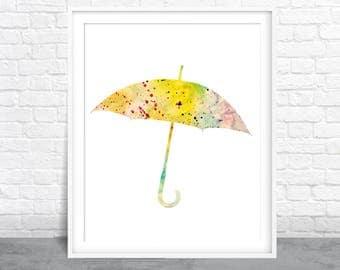 Umbrella Watercolor, Colorful Silhouette Art, Splatter Painting