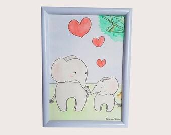 """Watercolor """"We love love"""""""
