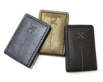 Leather Money Clip, Money Holder, Metallic Silver, Metallic Gold, Dark Chocolate Black