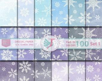 ON SALE 100 Watercolor Snowflake Digital Paper Frozen Winter Christmas Digital Paper Rainbow Water Color Snowflake Printable Scrapbook Paper