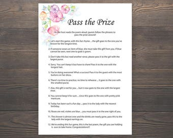Pass the Prize, Baby Shower Games, Girl Baby Shower, Rhyme Game, Parcel Game, Pass the Parcel Game, Pink Baby Shower Game, S015