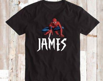 Cool Spiderman Tee Tees Shirt With Custom Name Spiderman Web Shirts Superhero Birthday Tee Shirt Spider Man Superhero T-Shirt for Boys, bb24