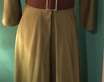 Long Vintage Gown with V Neck and Belted Waist