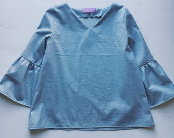 Dreamy Flared LS Sleeve Top - Chambray (Pre-Order Only)