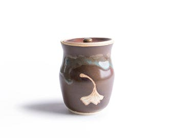 Stoneware Ginkgo jar / Red Ceramic Jar/ Small Flower Vase / Small Ceramic Vessel /  Pottery Gift / Ginkgo Jar /IN STOCK