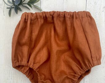 Rust Linen baby bloomers /nappy cover / diaper cover / traditional kids clothes
