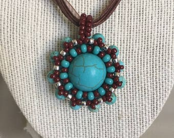 Hand made turquoise gemstone necklace