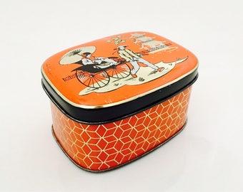 1950s Oriental Orange Tin, Small Tin Box Hinged Lid, Black, Gold and White Decor