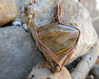 Cherry Quartz and Copper Wire Wrapped Pendant