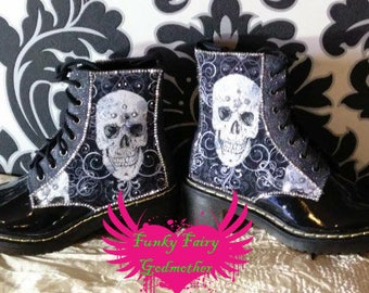 Swirly skull boots, flat boots, customised boots, dm style boots, black boots, women's boots, flat women's boots, funky boots, Gothic boots