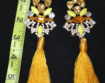 Canary Diamond  Yellow Tassle Earrings Chandelier