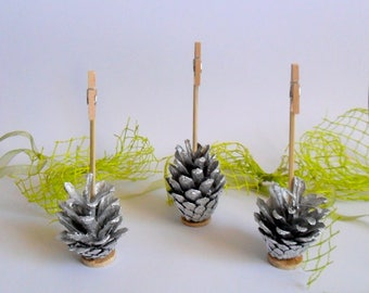 3pcs pine cone photo holders, Silver decoration, Home decor, Photo holders, Birthday gift, Pine cone decor, Table decoration, Gift for girl