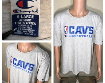Rare // Cleveland Cavaliers tshirt // Vintage Cavs Chanpion shirt // adult size XL or XXL // 90s big logo // faded distressed // cavs