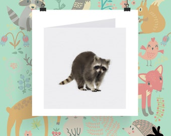 """Watercolour Cards - """"The Wild Wood"""" Rocky Raccoon"""