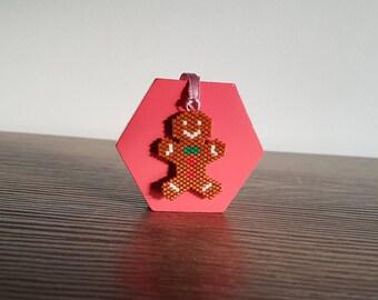 Gingerbread Man Ornament - Hand Beaded Christmas Ornament