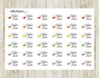 Coffee Date Planner Stickers by Pretty Planning! Colorful and fun stickers ideal for planning your life!