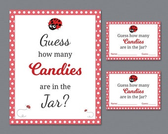 Ladybug Candy Guessing Game, Baby Shower Games Printable, Red Ladybug, Guess How Many Candies in a Jar, Candies in Bottle, Activities, B013