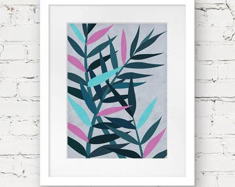 foliage art print, foliage printable, botanical downloadable art, instant download, leaf pattern printable, fern leaf art print, abstract