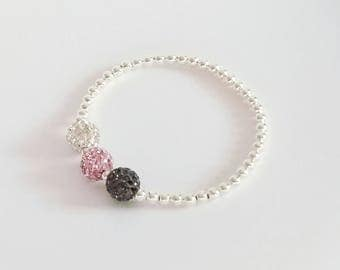 Pink, Grey & Clear Crystal Bracelet,Silver Bracelet, Beaded Bracelet,Stretch Bracelet, Silver Ball Bracelet,Stacking Bracelets, Bridesmaid