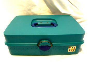 Vintage Caboodles Makeup Case 1980s 2710 Turquoise Aqua Royal Blue Train Case Large