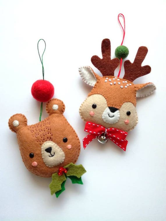 Felt pdf sewing pattern bear and deer ornaments christmas - How to make felt christmas decorations ...