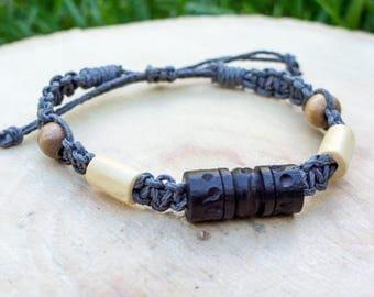 Macrame hemp bracelet, eco-friendly, natural