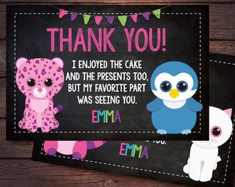 Beanie Boo Thank you Cards, Beanie Boo Birthday Party, Printable, DIGITAL