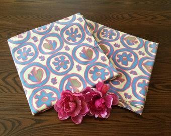 Mid Century Cotton Print Fabric Abstract Geometric Circle Design 3 Yards & 2 1/2 Yards Unused 5 1/2 Vintage Yardage