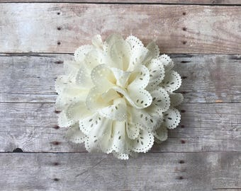 "Ivory Eyelet Flower, 4"" Fabric Flower, DIY Infant Headband, Headband Supplies, Eyelet Flower, Hair bow flower, Hair accessorie supply"
