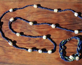Lapis, Jade, and African Barrel Trade Beaded Necklace & Bracelet Set