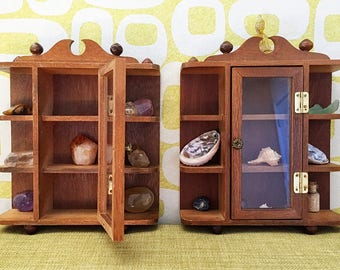 Small Wooden Curio Cabinets, Collectables Cabinet with doors that open, hanging knick knack cabinet