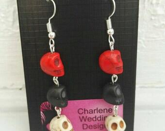 Gothic skull earrings white red black