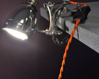 Bicycle Clamp Light, Bike Light, Steampunk Clamp Light, Upcycled Bicycle Lamp,Cycle Lamp, Office Light, Shelf Light, Steampunk Light