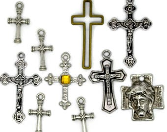 cross collection, collection of crosses, crosses, religious crosses, metal crosses, crosses for charms, pendant crosses, crosses for necklac