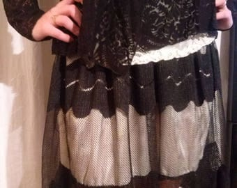 Black mesh and lace petticoat