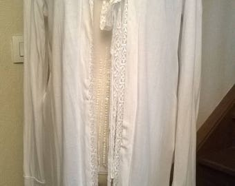Cotton, spandex and white lace long Cardigan