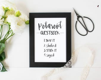 Polaroid Guestbook Sign Printable for Weddings and Events