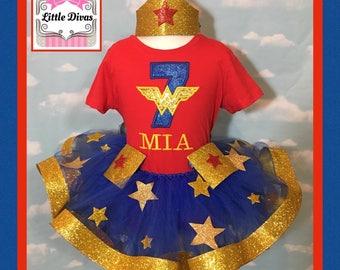 Wonder woman tutu,wonder woman party,  wonder woman dress,  wonder woman birthday, wonder woman embroidery