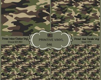 Green Military Camouflage Pattern Printed Vinyl/Siser HTV/ Oracal/ Indoor Vinyl/ Outdoor Vinyl/ Heat Transfer Vinyl- 046