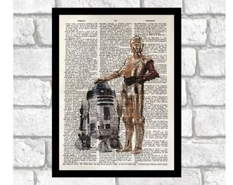 C-3PO and R2-D2 Print ~ Star Wars Themed Art ~ Star Wars color Illustration print art on 8x10 upcycled dictionary page