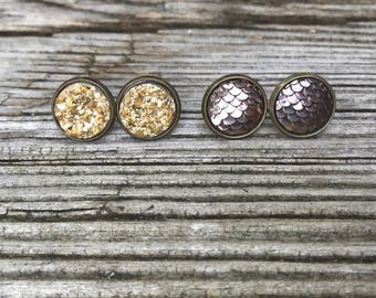 Druzy/ Mermaid Combo. Bronze and Gold Stud Earrings.