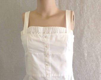 Women's top blouse/White thick hanger with blouse cotton/Side zippered  like new/Vintage 1980s/size/ M