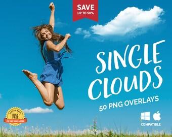 50 Single Clouds Photo Overlays, Heart Cloud, Sky overlay, Photoshop overlays, Cloud overlays, Digital sky, Cloudy sky, Realistic sky