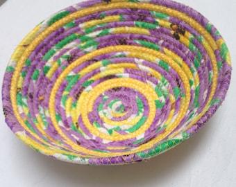 FabricPottery-Purple,yellow,green swirls, fabric bowl