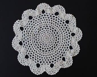 Vintage fine crochet doily, 100% cotton, cream colour
