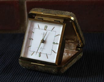 EUROPA 7 jewels square case travel MUSIC alarm clock, Germany, 1960's